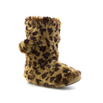 El deslizador empresa-Para Mujer Leopardo impresión del Faux Fur botín Zapatilla