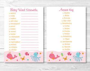 image regarding Baby Shower Word Scramble Printable identify Info over Red Beneath The Sea Printable Little one Shower \