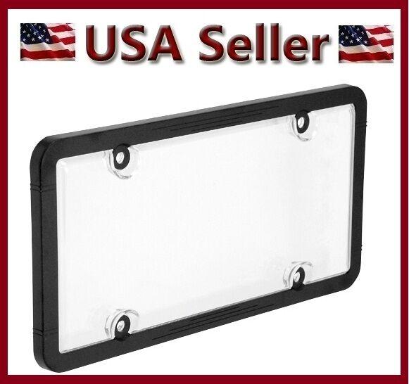 1 Combo Plain Black Plastic License Plate Frame Clear Bubble Shield ...