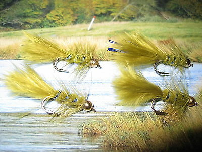 4 V Fly Size 10 Long Shank Ultimate Gold Bead Blue Damsel Trout Flies