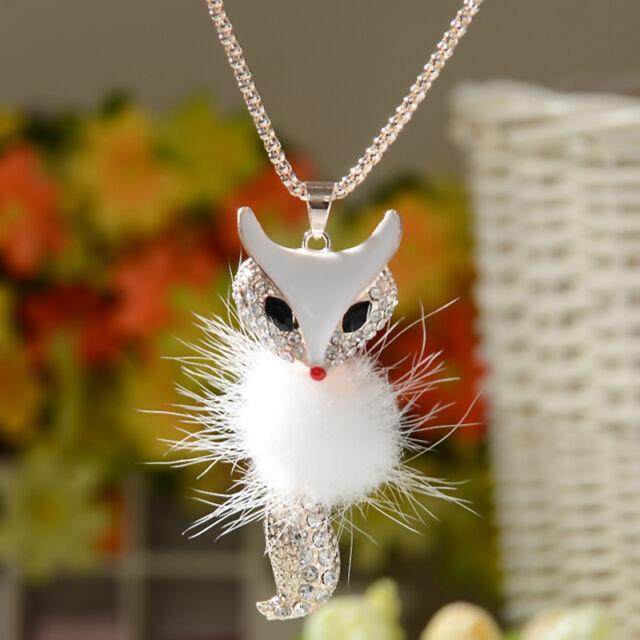 Women Lady Fashion Style Diamond Long Chain Owl Fox Pendant Sweater Necklace New