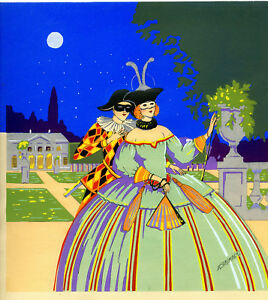 1930s French Pochoir Print Grimbert Victorian Masquerade Ball Harlequin Princess