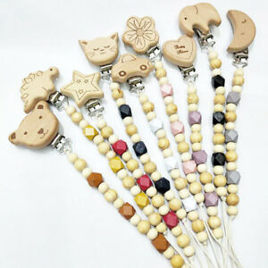 Beech Animals Dummy Clip Pacifier Wooden Chain Dummie Binky Baby Soother Clips