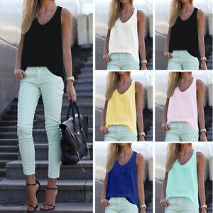 Women-V-Neck-Chiffon-Sleeveless-Vest-Blouse-Casual-Tank-Loose-Summer-Tops-Shirt