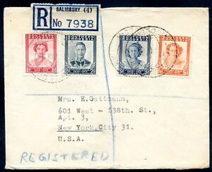 BRITISH-SOUTHERN-RHODESIA-TO-USA-Registered-Cover-1948-VF