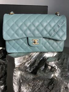e88233a23de3 NWT CHANEL Light Blue Caviar Jumbo Double Flap 2018 18C IRIDESCENT ...