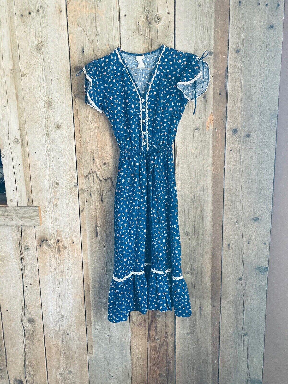 vintage prairie calico gunne sax style dress - image 1