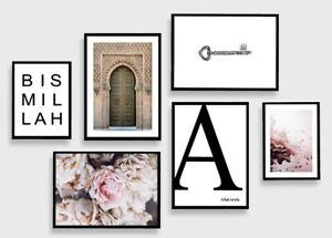 Islamic Art Kunstdruck Poster Set Bismillah Rose Typografie Marrakesch Oriental