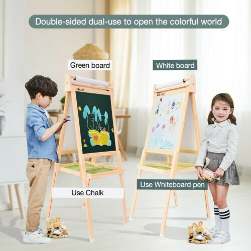 Portable Kids Standing Art Easel Double-Sided Lifting Painting Board Storage Lot