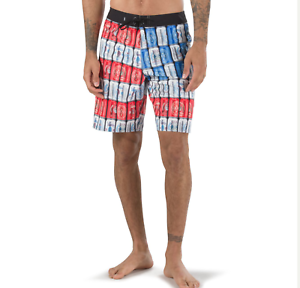 VANS (AMERI CAN) BOARD SHORTS SWIM RED WHITE blueE BEER MENS SZ 33 WAIST NEW NWT