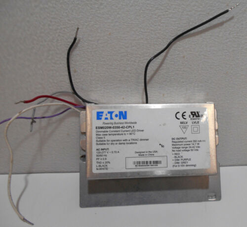 EATON Constant Current Dimmable LED Driver ESM020W-0350-42-CPL1 Ballast