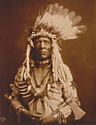 1900 Old Photo, Native American Portrait, tomahawk, Piegan, Headdress, 14