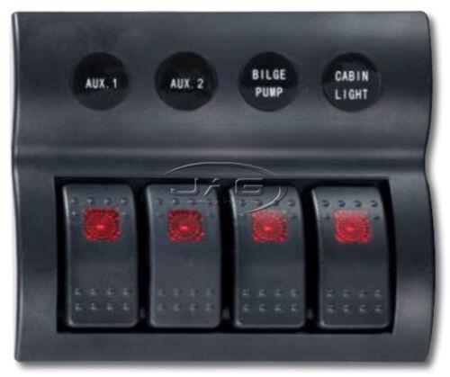 4 GANG DELUXE LED ROCKER WATERPROOF SWITCH PANEL /& CIRCUIT BREAKERS Boat//Marine