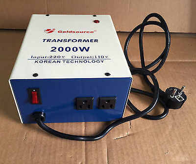 CONVERTER TRANSFORMER STEP DOWN 2000W 220V TO 110V FOR 110VOLT APPLIANCES EUROPE