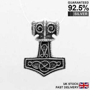 925-Silver-Thor-s-Hammer-Mjolnir-Norse-Viking-Knot-Pendant-Solid-Quality