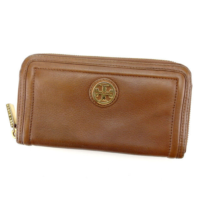 79d64386c938 Tory Burch Wallet Purse Long Wallet Brown Gold Woman Authentic Used Y5924