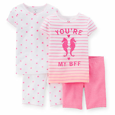 YOU'RE MY BFF Girl PAJAMA 2 Sets 3T 4T Carters PINK White SEAHORSE $34 NWT Short