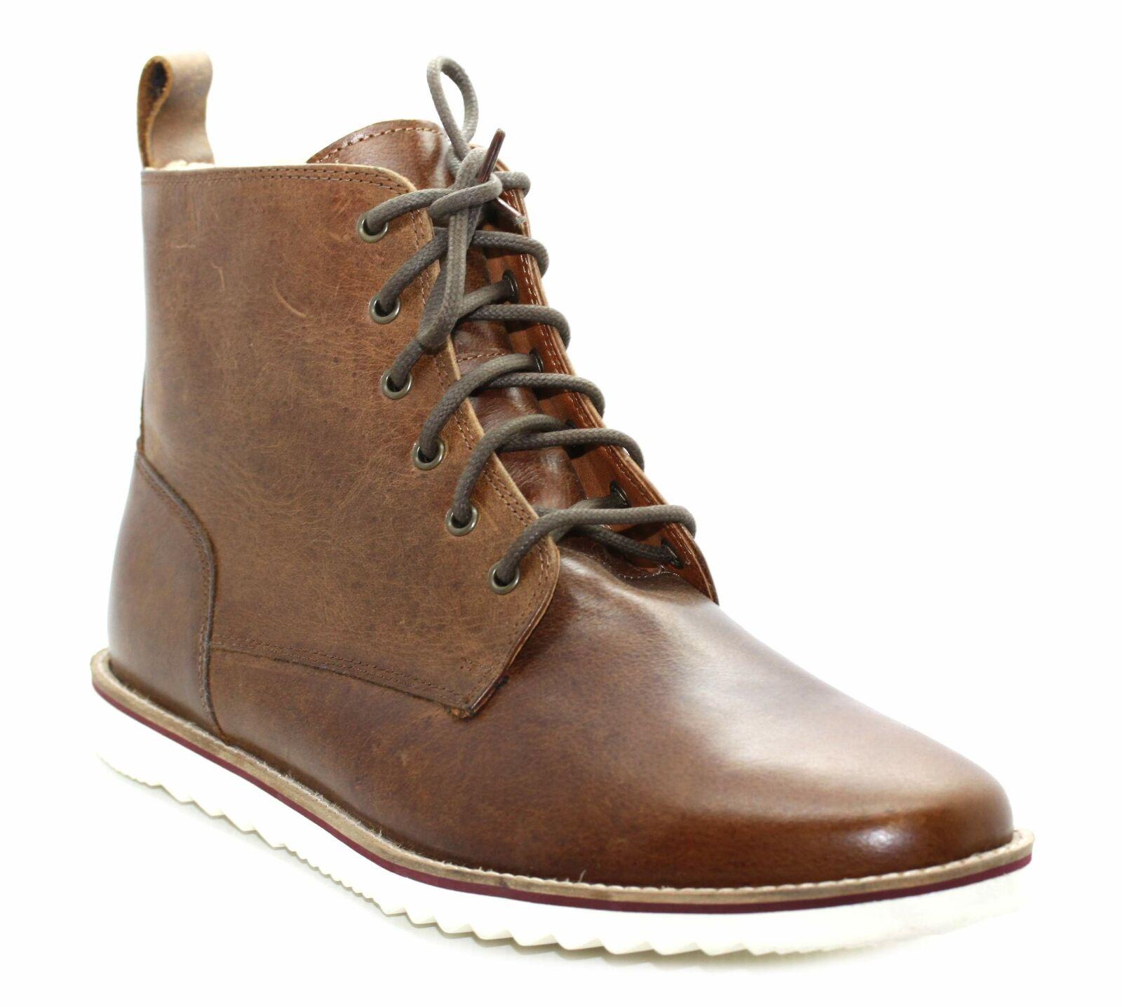 Mens Tan Leather Faux Fur Lined Lace Up Boots Size UK 12 EU 47