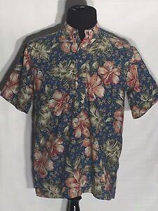 Reyn-Spooner-Hawaiian-Traditionals-Flowers-Floral-Medium-M-Polo-Hawaiian-Shirt