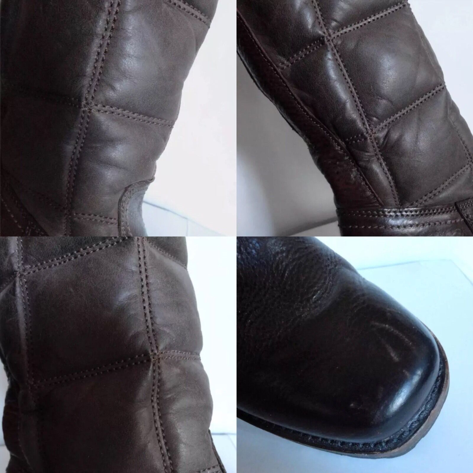 FRYE Vintage Quilted braun Leather Leather Leather Tall Vibram Riding Stiefel 6 B 36 MADE IN USA 672eff