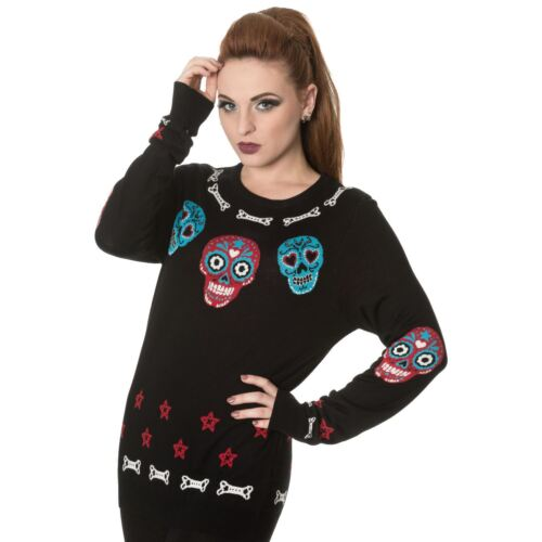 Banned Colourful Skull /& Bones Knitted Gothic Mexican Jumper