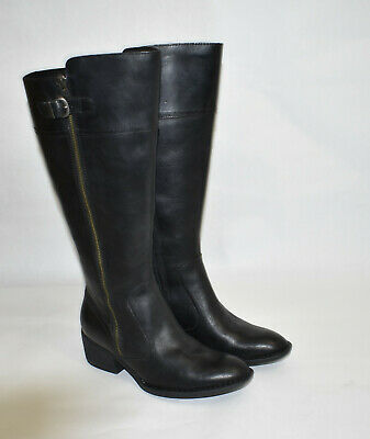 Black Leather Boot Wide Calf Size 8.5