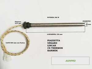 Candeletta accensione STUFA PELLET RESISTENZA  D. 10 x 150 300W A VITE 3/8 GAS