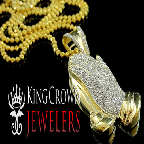 Details about  /GENUINE REAL DIAMOND MENS LADIES MINI PRAYING HAND PENDANT CHARM CHAIN NECKLACE