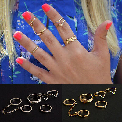 6PCS/Set Fashion Korea Urban stack Plain Cute Above Knuckle chain Ring Rings HG