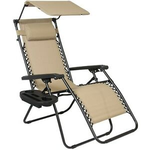 Image is loading Folding-Lounge-Lawn-Chair-with-Canopy-Zero-Gravity-  sc 1 st  eBay & Folding Lounge Lawn Chair with Canopy Zero Gravity Outdoor ...