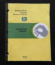 AO Tractor Operators Manual 272K+ John Deere Model AR