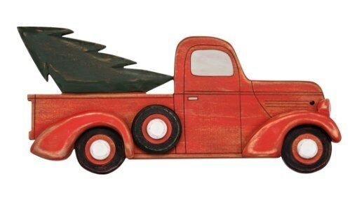 Primitives by Kathy Christmas Tree Red Truck Holiday Inset Box Sign Decor