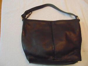 Women's Via Spiga Brown Pebbled Leather Hobo Bag Purse