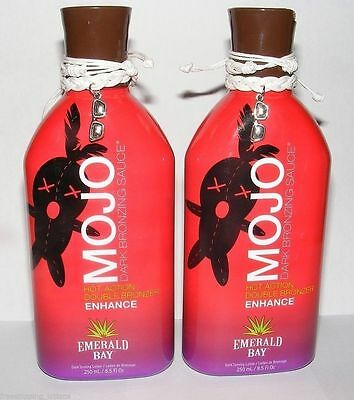 LOT OF 2 EMERALD BAY MOJO HOT DARK INDOOR TANNING LOTION 250ML + FREE GOGGLES