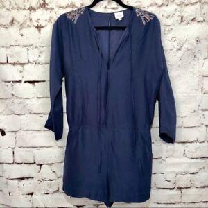 Parker Navy Blue 100% Silk Embellished Long Sleeve Shorts Romper Size M