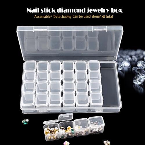 28 Grids Plastic Jewelry Nail Art Accessory Detachable Storage Box Organizer