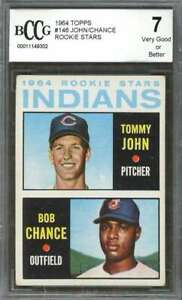 Tommy-John-Dean-Chance-Rookie-Card-1964-Topps-146-Indians-BGS-BCCG-7