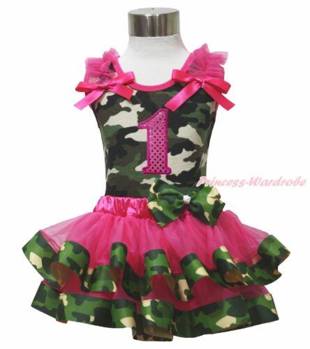 Birthday 1ST 2ND 3RD Camouflage Top Shirt Hot Pink Satin Trim Girl Skirt NB-8Y