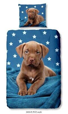 GOOD MORNING Wende-Bettwäsche PUP 6604 135 x 200cm Blau Brown Hund Welpe Sterne