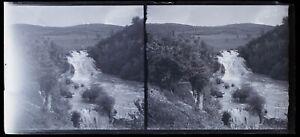 Cascade Creek c1920 Foto Negativo Placca Da Lente Stereo Vintage VrL15n18