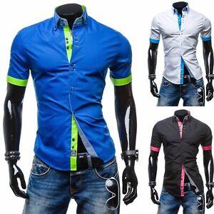 Mens-Double-Collar-Slim-Fit-Short-Sleeve-Shirts-Casual-Dress-Formal-Shirt-Top