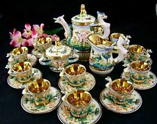 Vintage Capodimonte Tea Service for 12 With Cherubs Lots Of Gold Trim Italy