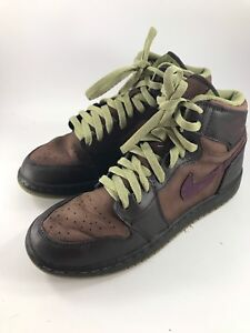 separation shoes 12fb6 e433c Details about YOUTH SIZE 7 BROWN LEATHER NIKE AIR JORDAN HIGH TOP  BASKETBALL SHOES