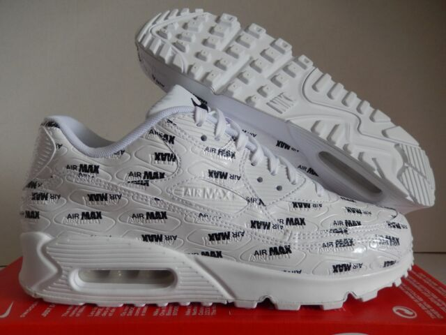 "f5b2fafaf5f79 Nike Air Max 90 Premium Size 13 ""all Over"" White Black Leather 700155 103"