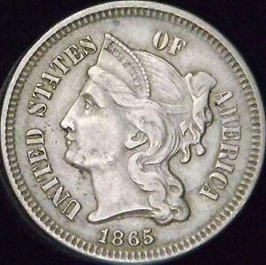1865 Nickel 3 Cents - Broken D & Reverse Flow Lines Error - AU