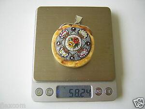Antiquitäten & Kunst Xl Butterscotch Natur Bernstein Mit Millefiori Anhänger Silber 58,2 G Amber Und Verdauung Hilft Fossilien
