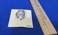Macys Cbc Ring Silvertone Wide Band W/ Cutout Design Jewelry Size 7