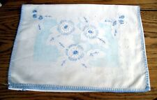 Vintage Table Runner Scarf White w/ Blue Cross-Stitched Flowers ~