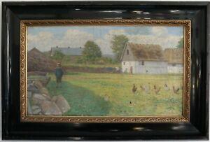 On-the-Farm-Frode-Eckesen-1891-Signed-Frode-Eckesen-91-Oil-on-Leinw