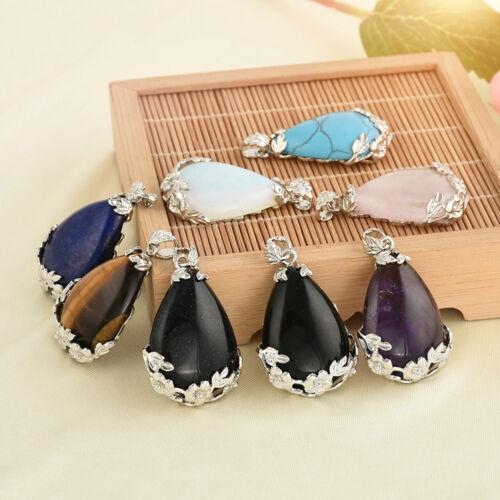 1x Natural quartz Gem Stone Teardrop Healing Pendentifs Pour Craft Collier Jewelry